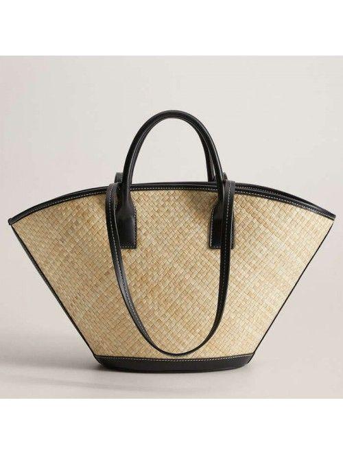 woven handbag pu leather...